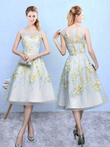 Fashion Sleeveless Organza Knee Length Zipper Court Dresses for Sweet 16 in Multi-color with Embroidery
