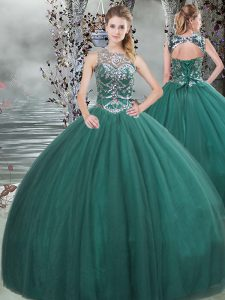 Simple Floor Length Dark Green 15 Quinceanera Dress Tulle Sleeveless Beading