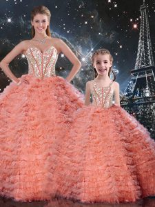 Deluxe Watermelon Red Lace Up Sweetheart Beading and Ruffles 15 Quinceanera Dress Tulle Sleeveless