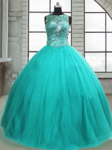 Cute Sleeveless Beading Lace Up Ball Gown Prom Dress