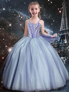Best Light Blue Ball Gowns Tulle Straps Sleeveless Beading Floor Length Lace Up Pageant Gowns For Girls