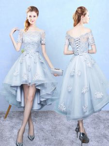 High Low A-line Short Sleeves Light Blue Quinceanera Court of Honor Dress Lace Up