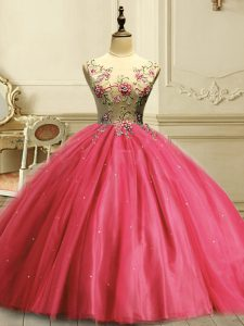 Superior Coral Red Ball Gowns Tulle Scoop Sleeveless Appliques and Sequins Floor Length Lace Up Quince Ball Gowns