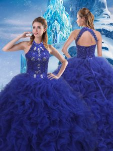 Glittering Lace Up 15 Quinceanera Dress Blue for Military Ball and Sweet 16 and Quinceanera with Beading and Ruffles Brush Train