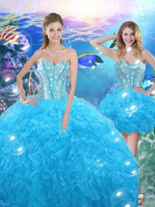 Baby Blue Sleeveless Floor Length Beading and Ruffles Lace Up Quinceanera Dress