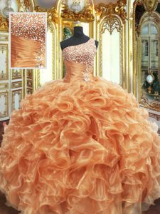 Fine Orange Ball Gowns Organza One Shoulder Sleeveless Beading and Ruffles Floor Length Lace Up Sweet 16 Dress