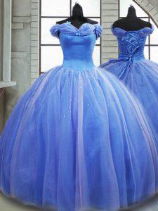 Light Blue Sleeveless Pick Ups Lace Up Ball Gown Prom Dress