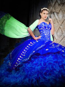 Simple Brush Train Ball Gowns Sweet 16 Dresses Royal Blue Sweetheart Organza Sleeveless Lace Up