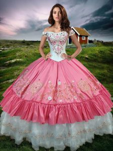 Sleeveless Taffeta Floor Length Lace Up Sweet 16 Quinceanera Dress in Hot Pink with Beading and Embroidery and Ruffled Layers