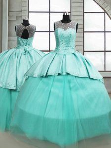 Scoop Sleeveless Brush Train Lace Up Sweet 16 Dresses Turquoise Tulle