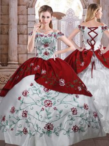 Custom Designed Floor Length Ball Gowns Sleeveless White And Red Quinceanera Gowns Lace Up