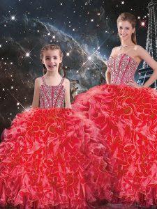 Cheap Coral Red Sleeveless Beading and Ruffles Floor Length Vestidos de Quinceanera