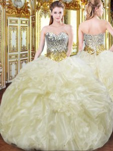 Affordable Light Yellow Sweetheart Lace Up Beading and Ruffles Quince Ball Gowns Sleeveless