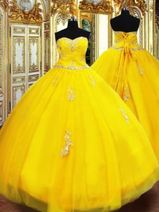 Sleeveless Tulle Floor Length Lace Up Quinceanera Gowns in Gold with Beading and Appliques
