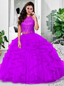 Fantastic Eggplant Purple Two Pieces Halter Top Sleeveless Tulle Floor Length Zipper Lace and Ruffles Sweet 16 Dress