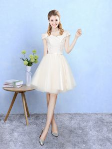 Attractive Champagne Empire Tulle Off The Shoulder Cap Sleeves Lace Knee Length Lace Up Vestidos de Damas