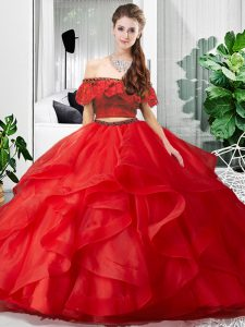 Amazing Red Lace Up Quinceanera Dress Lace and Ruffles Sleeveless Floor Length