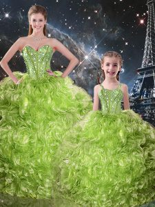 Sweetheart Sleeveless Quince Ball Gowns Floor Length Beading and Ruffles Olive Green Organza