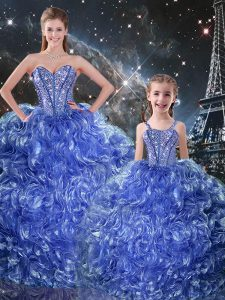 Fancy Sleeveless Organza Floor Length Lace Up Quinceanera Dress in Blue with Beading and Ruffles