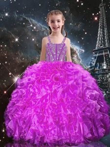 Sleeveless Lace Up Floor Length Beading and Ruffles Little Girls Pageant Dress