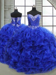 Eye-catching Royal Blue Lace Up 15th Birthday Dress Beading and Ruffles Sleeveless Floor Length