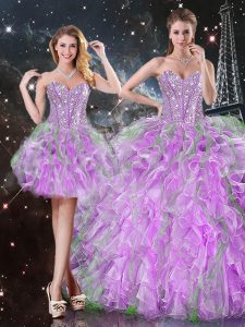 Custom Designed Sleeveless Lace Up Floor Length Beading and Ruffles Sweet 16 Dress