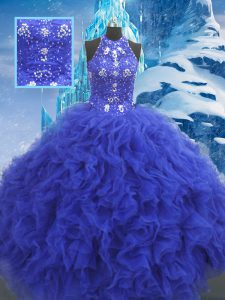 Blue Lace Up 15 Quinceanera Dress Beading and Ruffles Sleeveless Floor Length