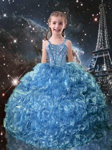 Great Sleeveless Beading and Ruffles Lace Up Little Girls Pageant Gowns