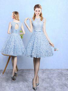Luxurious Light Blue Printed Lace Up Scoop Sleeveless Knee Length Vestidos de Damas Belt