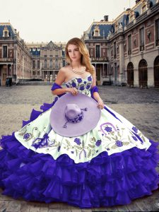 Floor Length Purple Quinceanera Dress Organza Sleeveless Embroidery and Ruffled Layers