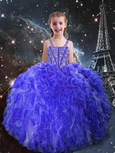 Wonderful Eggplant Purple Ball Gowns Straps Sleeveless Organza Floor Length Lace Up Beading and Ruffles Little Girls Pageant Dress Wholesale