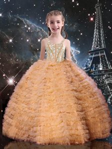 Best Orange Red Tulle Lace Up Pageant Gowns For Girls Sleeveless Floor Length Beading and Ruffled Layers