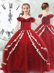 Cute Tulle Sleeveless Little Girl Pageant Dress Brush Train and Appliques