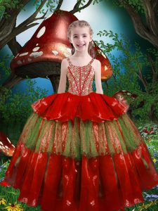 Top Selling Sleeveless Organza Floor Length Lace Up Kids Pageant Dress in Red with Beading and Ruffled Layers