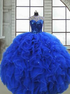 Artistic Royal Blue Quince Ball Gowns Military Ball and Sweet 16 and Quinceanera with Ruffles and Sequins Scoop Sleeveless Zipper