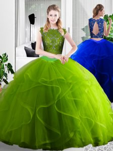 Olive Green Zipper Ball Gown Prom Dress Lace and Ruffles Sleeveless Floor Length