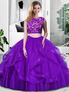Purple Zipper Ball Gown Prom Dress Lace and Ruffles Sleeveless Floor Length