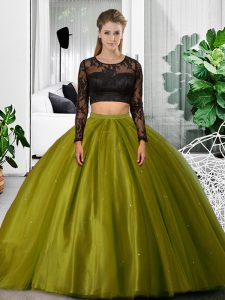 Tulle Scoop Long Sleeves Backless Lace and Ruching Quinceanera Gowns in Olive Green