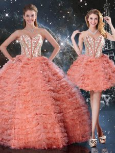 Dazzling Sweetheart Sleeveless Quinceanera Gowns Floor Length Beading and Ruffled Layers Watermelon Red Organza