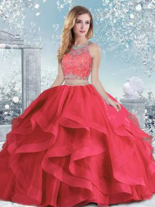 Custom Designed Coral Red Quinceanera Dresses Military Ball and Sweet 16 and Quinceanera with Beading and Ruffles Scoop Sleeveless Clasp Handle