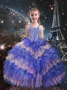 Enchanting Straps Sleeveless Organza Little Girls Pageant Dress Wholesale Beading and Ruffled Layers Lace Up