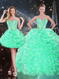 Attractive Floor Length Apple Green 15th Birthday Dress Sweetheart Sleeveless Lace Up