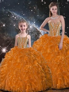 Graceful Orange Sweetheart Neckline Beading and Ruffles 15 Quinceanera Dress Sleeveless Lace Up