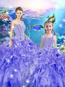 Eye-catching Organza Sweetheart Sleeveless Lace Up Beading and Ruffles Vestidos de Quinceanera in Lavender