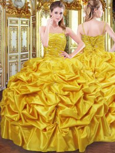 Decent Taffeta Spaghetti Straps Sleeveless Lace Up Beading and Pick Ups 15 Quinceanera Dress in Gold