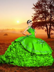 Green Sleeveless Organza Brush Train Lace Up Quinceanera Dresses for Military Ball and Sweet 16 and Quinceanera
