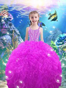 Straps Sleeveless Lace Up Child Pageant Dress Fuchsia Organza