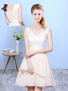 Sleeveless Knee Length Ruching Lace Up Dama Dress with Champagne