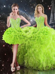 Floor Length Lace Up 15 Quinceanera Dress for Military Ball and Sweet 16 and Quinceanera with Beading and Ruffles