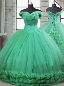 Off The Shoulder Sleeveless Quince Ball Gowns Brush Train Hand Made Flower Turquoise Fabric With Rolling Flowers